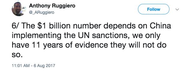Anthony Ruggerio Tweet UN Sanctions.png