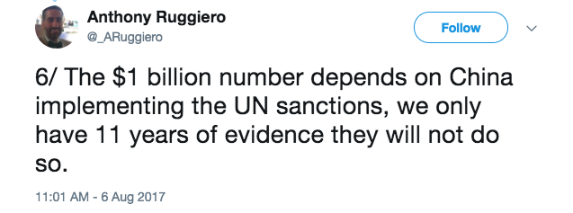Anthony Ruggerio Tweet UN Sanctions.png